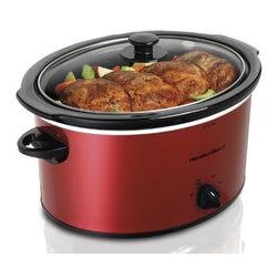 HAM.BEACH/PROCTOR SILEX - Slow Cooker with Bonus 1-Quart Red - Features: