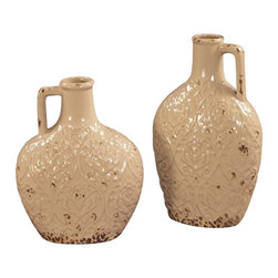 Howard Elliott - Howard Elliott 18178 Ceramic Pitchers w/ Distressed Ivory Glaze -set of 2 - Ceramic Pitchers w/ Distressed Ivory Glaze -set of 2 by Howard Elliott This set of 2 Ceramic Pitchers are finished in a Distressed Ivory Glaze. Vase (2)