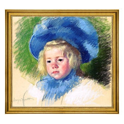 """Mary Cassatt-16""""x20"""" Framed Canvas - 16"""" x 20"""" Mary Cassatt Head of Simone in a Large Plumes Hat, Looking Left framed premium canvas print reproduced to meet museum quality standards. Our museum quality canvas prints are produced using high-precision print technology for a more accurate reproduction printed on high quality canvas with fade-resistant, archival inks. Our progressive business model allows us to offer works of art to you at the best wholesale pricing, significantly less than art gallery prices, affordable to all. This artwork is hand stretched onto wooden stretcher bars, then mounted into our 3"""" wide gold finish frame with black panel by one of our expert framers. Our framed canvas print comes with hardware, ready to hang on your wall.  We present a comprehensive collection of exceptional canvas art reproductions by Mary Cassatt."""