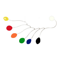 """Atomic Mobiles - DRAMATIC XXXL HANGING MOBILE - Midcentury - Modern Art Calder, Red Yellow Orange - DRAMATIC HUGE SIZES that will make an absolutely stunning statement in your home, office or OUTDOORS in your yard! UV coated for outdoor use, and gracefully moving, the """"Midcentury"""" makes a zen-like addition to your indoors or outdoors."""
