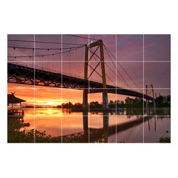 Picture-Tiles, LLC - Sunset Photo Bathroom Shower Tile Mural  24 x 36 - * Sunset Photo Bathroom Shower Tile Mural 1868