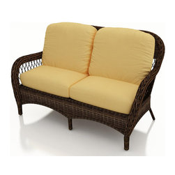 Forever Patio - Leona Wicker Patio Loveseat, Canvas Wheat Cushions - The Forever Patio Leona Wicker Outdoor Loveseat with Gold Sunbrella cushions (SKU FP-LEO-LS-MC-CW) is both comfortable and elegant with its roomy seating and sweeping curves. The mocha-colored wicker is UV-protected, and features two tones that give it a more natural, traditional look. Each strand of this outdoor wicker is made from High-Density Polyethylene (HDPE) and is infused with its rich color and UV-inhibitors that prevent cracking, chipping and fading ordinarily caused by sunlight. This outdoor wicker loveseat is supported by thick-gauged, powder-coated aluminum frames that make it more durable than natural rattan. This loveseat includes fade- and mildew-resistant Sunbrella cushions, adding comfort to your outdoor space.