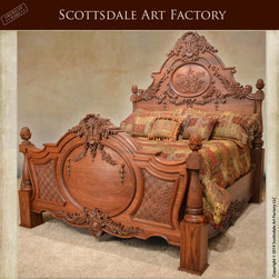 Bedroom Furniture - Hand carved walnut bed custom made at Scottsdale Art Factory. This grain matched solid walnut wood bed was carved by the hands of our master craftsman trained in the traditional methods. The hand turned bed posts and carved bed frame feature a 23-step process fine art finish to protect this king size bed that's fit for royalty in a modern castle.