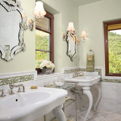 """Acanthus Stone Mosaic - Acanthus 4"""" mosaic chair rail in Thassos, Chartreuse, Verde Alpi with Calacatta Tia marble tiles"""