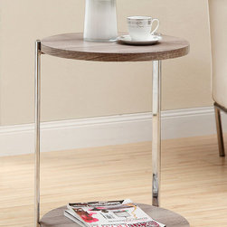None - Dark Taupe Reclaimed-look Accent Table - Styled with sleek chrome legs and a reclaimed-looking dark oak top,this table coordinates with many decor styles. This table is finished with a handy bottom shelf.