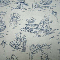"""SheetWorld - Fitted Square Playard Sheet 37.5 x 37.5 (Fits Joovy) - Blue Teddy Toile Print - This luxurious 100% cotton """"woven"""" square playard sheet features the cutest blue teddy bear toile print. Our sheets are made of the highest quality fabric that's measured at a 280 tc. That means these sheets are soft and durable. Sheets are made with deep pockets and are elasticized around the entire edge which prevents it from slipping off the mattress, thereby keeping your baby safe. These sheets are so durable that they will last all through your baby's growing years. We're called sheet world because we produce the highest grade sheets on the market today. Size: 37 1/2 x 37 1/2."""