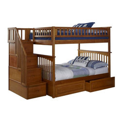 Atlantic Furniture - Columbia Staircase Bunk Bed Full Over Full / Raised Panel Drawers /Caramel Latte - Features: