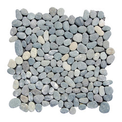 Indo Tile - River Rock Tile, Carton - River Rock Gray pebble tile is an incredibly popular pebble style : 100% natural Indonesian pebbles assembled on interlocking mesh pattern for a seamless designer finish. The pebbles or ancient river rocks are sorted for color size and thickness ensuring the best gauge of pebbles for a uniform height and color pallet. The pebbles are then carefully reviewed again, hand selected then puzzled into a patented interlocking mesh pattern. The result is a premium pebble tile with superior consistency and quality. Each tile assembly is on a sturdy nylon mesh backing using an environmentally safe glue. The patented interlocking pattern is designed so the pebble tiles fit together seamlessly when installed.  The final installed result is a seamless field of pebbles with no detectable tile pattern.