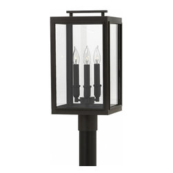 Hinkley Lighting - Sutcliffe Outdoor Post Mount - The Sutecliffe Outdoor Post Mount is available with Clear glass and an Oil Rubbed Bronze finish. Post NOT included. Three 60 watt 120 volt Edison A-Shape type candelabra base bulbs are required, but not included. 10 inch width x 20 inch height. Rated for wet locations.