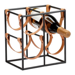 Kathy Kuo Home - Small Brighton Rustic Farmhouse Iron Leather Wine Rack Holder - It's perfectly clear: this small wine holder has a BIG style statement to make.  Rustic minimalism gets a unique update in the form of strappy leather handles which hold the bottles in place.  Placed in an industrial or rustic kitchen the spare lines and vaguely equestrian leather will surely be a conversation starter.