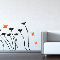 Cherry Walls - Daisies and Butterflies Decal - Add an easy-to-use original art wall decal with daisies and butterflies to your room, and you may just feel a light breeze carry you to a blossoming summer meadow. The stress-reducing, simple design offers pleasing, gentle movement while capturing a natural moment in time.