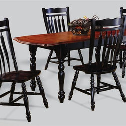 """Sunset Trading - 5-Pc Eco-Friendly Drop Leaf Table Set - Includes one extension table and four aspen style chairs. Traditional classic beauty and style. Sturdy quality craftsmanship. Table:. Classic American piece. Cherry top. Classic and timeless, and with the memories made. Solid handcrafted hardwood extension table perfect for the smallest of spaces yet opens to 72 in.. Removable 18 in. Leaf and two 10 in. drop leaves convert table from 34 in. x 34 in. up to 34 in. x 72 in.. Chair:. Curved, comfort back and scooped seat. Perfectly carved and steel reinforced turned legs. Large contoured backrest and seating area to provide ideal seating solution. Warranty: One year. Made from Malaysian oak. Antique black finish. Made in Malaysia. Table assembly required. Chair: 20 in. W x 19.5 in. D x 38 in. H (16 lbs.). Table:. Minimum: 36 in. L x 34 in. W x 30 in. H. Maximum: 72 in. L x 34 in. W x 30 in. H. Weight: 130.16 lbs.Welcome guests into your home with a touch of country comfort with this from the Sunset Trading - Sunset Selections Collection. Whether it's casual """"coffee and conversation"""", everyday dining, holidays or special occasions, memories are guaranteed to be made when family and friends gather around this versatile dining table. Warm and inviting, the classic beauty and craftsmanship of this dining tables makes it equally appropriate for your kitchen or dining room fulfilling all your formal and informal dining needs. Pair this table with your choice of Sunset Selections arm and side chairs to appropriately complete your informal or formal dining space. This relaxed dining piece will bring warmth and comfort to your home for years to come! Complete your dining decor with the country charm of timeless casual dining chairs from the Sunset Trading - Sunset Selections Collection."""
