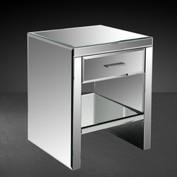 Gerona - Modern Mirrored Bedroom Nightstand - Modern Mirrored Bedroom Nightstand