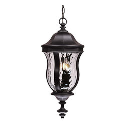 Savoy House - Monticello Hanging Lantern - A celebrated Savoy House family finished in Black with Clear Watered glass
