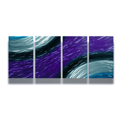 Miles Shay - Metal Wall Art Decor Abstract Contemporary Modern Sculpture- Purple Ambiance - This Abstract Metal Wall Art & Sculpture captures the interplay of the highlights and shadows and creates a new three dimensional sense of movement as your view it from different angles.