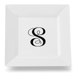 Caroline's Treasures - Letter S Initial Monogram Script Square Ceramic Platter or Plate - Letter S Initial Monogram Script Square Ceramic Platter or Plate CJ1057-SSP115 Heavy Square Ceramic Plate 11 1/2 inches. LEAD FREE, dishwasher and microwave safe. The plate has been refired over 1600 degrees and the artwork will not fade or crack.