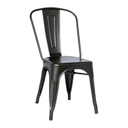 Chintaly Imports - Black Galvanized Steel Side Chair (Set of 4) - Galvanized steel industrial style indoor and outdoor chair. Approved for commercial use.
