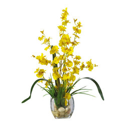Nearly Natural - Dancing Lady Orchid Liquid Illusion Silk Flower Arrangement - With its winding stems and curvy stalks, it's easy to see why this member of the Orchid family is called the 'Dancing Lady'. These beautiful and unique orchids rest snugly in a short oval-shaped glass container, which is filled with artificial water and an abundant supply of river rock to compliment its appeal. This extraordinary arrangement is the perfect way to spice up any room or office space.