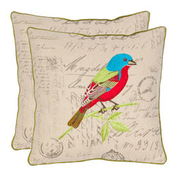 Safavieh Home Furniture - Rebecca 18-Inch Multi Color/Cream Decorative Pillows, Set of 2 - -Accent your home in chic style with this natural design from Safavieh. This songbird-adorned pattern in lush hues brings organic appeal to your bedroom, living room, or vanity.  - Please note this item has a 30-day manufacturer's limited warranty that covers product defects. Inspect your purchase upon delivery and notify us immediately with any concerns. Safavieh Home Furniture - PIL812A-1818-SET2