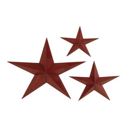 Aspire - Star Wall Plaques - Set of 3 - Set of 3 stars. This set of wall stars is a great addition to any western decor! Metal construction finished in brick red. Metal. Color/Finish: Brick red. 28 in. H x 36 in. W x 5 in. D. 18 in. H x 24 in. W x 3 in. D. 14 in. H x 18 in. W x 2 in. D. Weight: 12 lbs.