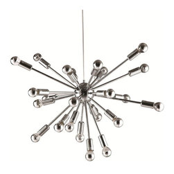 Silver Sputnik Chandelier - This eye-catching chandelier is sure to get people talking. We love the way it catches in the light, not to mention its striking Sputnik-style design.