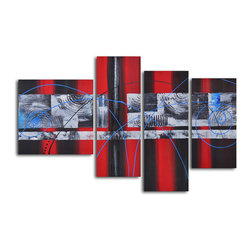 """Geometric symphony with blue Hand Painted 4 piece canvas set - Size: 56"""" x 40"""" (20"""" x 20"""" x 1pc; 12"""" x 32"""" x 2pc; 12"""" x 24"""" x 1pc)"""