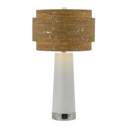 Candice Olson - Candice Olson Aviva Contemporary Table Lamp X-LT-2048 - Retro inspired flair and updated finishes create this stunning Candice Olsen contemporary table lamp. From the Aviva Collection, the hand crafted layered shade features a faux cork exterior and silver accenting. The body features gentle tapering and comes finished in a combination of White and Chrome.