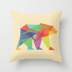 Fractal Geometric bear Throw Pillow by Budi Satria Kwan - I could not love this Fractal Geometric Bear throw pillow more. The neon colors are super on trend, and the shapes make the bear almost look like he's made of ice crystals. The range of colors will also make this pillow fit in many color schemes.