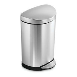 simplehuman - 10 Litre Semi-Round Step Can,  Fingerprint-Proof Brushed Stainless Steel - This space-saving trash can sits flush against the wall, making it perfect for smaller spaces such as bathrooms or home offices. The easy-to-find pedal opens the top automatically for hands-free operation. And special patented technology ensures a silent closing every time.