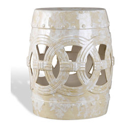 Kathy Kuo Home - Euclid Antique Asian White Marble Glaze Ceramic Garden Seat - L - From a whimsical, sunny story comes this antique white glazed ceramic barrel-shaped garden stool. This ornate sculpture can be a stool or an unexpected end table or nightstand. The hand-applied, cream glaze has variations in color and texture, making each piece unique.