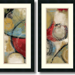 Amanti Art - Tom Reeves 'Elemental Circles- set of 2' Framed Art Print 14 x 26-inch Each - This contemporary abstract art print set by Tom Reeves offers an easy going visual poetry of shape and tone.  Bring a little simple chic into your decor!