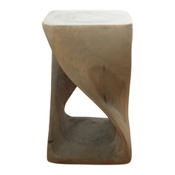 Kammika - Twist Stool 10x10x16 inch H Sust Monkey Pod Wood w E Frndly Livos Agate Grey Oil - Our Sustainable Monkey Pod Wood Twist Stool 10 inch x 10 inch x 16 inch height with Eco Friendly, Natural, Food-safe Livos Agate Grey Oil Finish is carved from Monkey Pod wood and is completely eco-friendly. The beauty of this design lies in its simplicity. It is bold, yet gentle; rustic yet refined. One quarter twists support this piece, which can serve as an end table, stand or stool; they can serve as a serving table or bench when put together. Each is hand carved - no two are alike. Craftspeople from the Chiang Mai area in Northern Thailand create these pieces with the simplest of tools. Each piece is a Work of Art! After each Monkey Pod wood (Acacia, Koa, Rain Tree grown for wood carving) piece is dried, and carved, it is rubbed in Livos Agate Grey oil creating a water resistant and food safe matte finish. The oil makes the wood turn to an antique white look with a light grey patina finish. The light portions of wood turn to shades of beige, and the dark lightens to shades of brown with a light transparent grey top coat over the white antique looking undercoat. There is no oily feel, and cannot bleed into carpets. We make minimal use of electric hand sanders in the finishing process. All products are dried in solar or propane kilns. No chemicals are used in the process, ever. This piece, made from the branches of the quick-growing Acacia tree in Thailand - where each branch is cut and carved to order (allowing the tree to continue growing), is packaged with cartons from recycled cardboard with no plastic or other fillers. As this is a natural product, the color and grain of your piece of Nature will be unique, and may include small checks or cracks that occur when the wood is dried. Sizes are approximate. Products could have visible marks from tools used, patches from small repairs, knot holes, natural inclusions or holes. There may be separations or cracks on your piece when it arrives. There may be some slight variation in size, color, texture, and finish.Only listed product included.