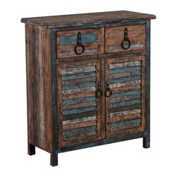 Powell - Powell Calypso Console - The Calypso Collection combines an antique weathered look with a warm rustic industrial feel. Its distressed look is trendy popular and full of unique character. The 2-Drawer 2-Door Console is a perfect addition to any area of your home. It features 2 deep upper drawers and 2 doors below which provide ample storage space for a variety of items. The door fronts are accented with distressed colored louvers that add character to the piece. Drawer face and doors feature antique bronze finished pulls. Fully assembled.