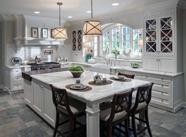 Traditional  Large White Kitchen