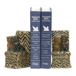 Sterling Industries - Sterling Industries Pair Millionaire Pet Bookends X-1722-19 - Trendy chevron chairs provide the support for two pampered pups in this Sterling Industries bookends set. From the Millionaire Pets Collection, these two similar breed dogs feature different fur colors, which allow them to pop. Gold and jeweled collars add to their upscale appearance.