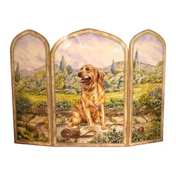 "Stupell Industries - Golden Retriever Dog 3 Panel Decorative Fireplace Screen - Decorative and functional. Made in USA. Original Stupell art. 44 in. W x 31 in. H (Approx.). 0.5 in. ThickA fireplace screen from ""The Stupell Home decor Collection"" will be the focal point of any room and the beautiful color and design will immediately enhance your hearth and it's surroundings. Both functional and decorative, this one of kind screen will keep your fireplace out of sight when it's not in use. This piece is handcrafted from original artwork by English muralist Julie Perren. A lithograph is laminated on sturdy 1/2'' thick mdf fiberboard and the sides are hand painted. The item is already assembled in the box and ready to be put in front of the fireplace. Made in USA."