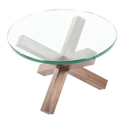 Control Brand - The Monza Coffee Table - This coffee table is consists of a beautiful thick glass top and tripod style wood base pieces in natural finish. It rests on solid walnut wood legs that interlock to form a tripod for self-stabilizing support.. The table is an extraordinary harmony of form and function.
