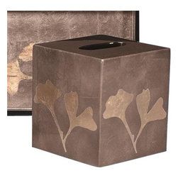 Belle & June - Ginko Boutique Tissue Holder - Beautify your bath, bedroom or guest room with this tissue box, hand-crafted using an age-old lacquer layering technique. The subtle colors and lovely gingko leaf motif lend a touch of exotic elegance.