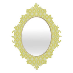 "DENY Designs - Caroline Okun Yellow Spirals Baroque Mirror - As we like to say around here, if it aint baroque, dont hang it! With a sleek mix of engineered wood trim thats unique to each piece and a glossy aluminum frame, the baroque mirror bumps your stylish reflection up a notch.Features: -Baroque mirror. -Caroline Okun collection. -High gloss aluminum with UV resistant coating. -Engineered wood frame. -Quality glass mirror. -Includes wire mount with picture hanger and one C battery. -.Dimensions: -14.5"" H x 19.5"" W x 1.5"" D: 10 lbs. -21.7"" H x 29.2"" W x 1.5"" D: 15 lbs. -30.6"" H x 36"" W x 1.5"" D: 20 lbs."
