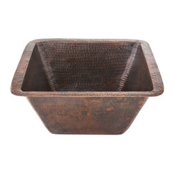 "Premier Copper Products - 15"" Square Copper Bar/Prep Sink W/ 2"" Drain - One, singular sensation, every little dish you wash! Translation: One big, beautiful copper basin sink is an awe-inspiring step up from the divided sinks of yesteryear. This hammered version provides a deep square basin so large you could practically bathe inside."