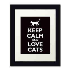 Keep Calm Collection - Keep Calm and Love Cats, framed print (black) - This item is an Art Print which means it is a higher-quality art reproduction than a typical poster. Art prints are usually printed on thicker paper, resulting in a high quality finish. This print is produced on a 270 gsm fine art paper stock.