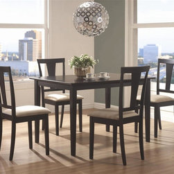 Coaster - Geary 5-Pc Dining Table Set in Black Finish - Includes table and four side chairs. Contemporary style. Rectangular shaped table. Smooth table top. Straight edges and clean lines. Square tapered legs. Chair with upholstered microfiber seat. Modern vertical splat back. Made from rubberwoods. Seat height: 17 in.. Table: 47 in. L x 36 in. W x 30 in. H. Chairs: 18 in. W x 17 in. D x 37 in. H. WarrantyThis lovely casual contemporary dining set will give your dining room a slick update. This 5-Pc dining set will blend nicely with any decor to create a warm and inviting casual dining room where the whole family can relax.