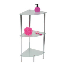 3 Tier Corner Glass Tower Chrome - This elegantly-designed corner glass tower is metal and has a chrome finish. It features 3 frosted tempered glass shelves. It offers a stylish solution for more storage space in your bathroom, toilet or closet and fits perfectly into a corner for a modern look. It can hold towels, bathroom toiletries or even decorative accessories. Easy to assemble with the included hardware. Clean with warm soapy water. Length 11.2-Inch, width 11.2-Inch and height 28.9-Inch. Color chrome. It's an easy and elegant way to maximize your bathroom's available space while providing functional storage and shelving for all your necessities. Complete your decoration with other products of the same collection. Imported.