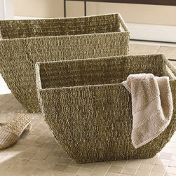 Tag Everyday - Seagrass Deep Baskets in Coffee - Set of 2 - Set of 2. Slippers and towel not included. Versatile and long lasting baskets. Woven handles. Seagrass twisted by hand into twine. Woven over hand-formed, powder coated metal frames for stability. Made from renewable natural seagrass. Small: 21 in. L x 12.5 in. W x 13 in. H. Large: 24.5 in. L x 15 in W x 15.25 in. H