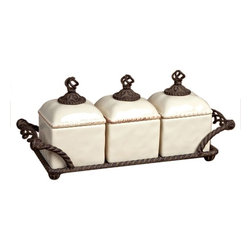 GG Collection - Barcelona Small Kitchen Canisters - Jar Set of 3 w/Metal Tray, Cream Ceramic, Brown Metal, Barcelona, 19.5in x 6.5in x 13in H, Care: Ceramic is dishwasher safe, handwashing metal parts in mild soap and dry with a soft cloth