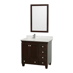 "Wyndham Collection - Wyndham Collection 36"" Acclaim Espresso Single Vanity w/ White Porcelain Sink - Sublimely linking traditional and modern design aesthetics, and part of the exclusive Wyndham Collection Designer Series by Christopher Grubb, the Acclaim Vanity is at home in almost every bathroom decor. This solid oak vanity blends the simple lines of traditional design with modern elements like square undermount sinks and brushed chrome hardware, resulting in a timeless piece of bathroom furniture. The Acclaim comes with a White Carrera or Ivory marble counter, porcelain, marble or granite sinks, and matching mirrors. Featuring soft close door hinges and drawer glides, you'll never hear a noisy door again! Meticulously finished with brushed chrome hardware, the attention to detail on this beautiful vanity is second to none and is sure to be envy of your friends and neighbors!"