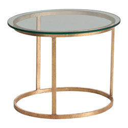 Kathy Kuo Home - Ansel Contemporary Iron Glass Topped Gold Leaf Oval End Table - The spare, asymmetrical silhouette of this glass and iron table makes it the perfect centerpiece for any contemporary living room. The distressed gold leaf finish on its oval base and legs contrasts nicely with its clear polished glass tabletop. Sure to become a cherished classic in your modern home.