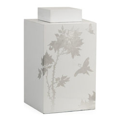 iMax - iMax Meshaw Large Lidded Jar - A brilliant white lacquered finish with a delicate silver leaf floral pattern give the Mershaw lidded jar an elegant yet bold presence.