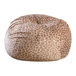 Great Deal Furniture - Ashley 3-Ft Brown Giraffe Print Microfiber Fabric Bean Bag Chair - Lounge in style with the Ashley 3-foot giraffe print fabric bean bag. This unique pattern and plush fabric makes this an inviting piece for any adult or child. Its microfiber giraffe print fabric is soft to the touch and the neutral color will complement almost any decor. Made in the United States with an eco-friendly foam filler, this bean bag offers a luxurious and comfortable option to your in home lounging experience.