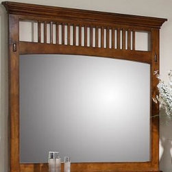 Sunset Trading - Sunset Trading Tremont Mirror - Create a feeling of balance and serenity with the neat  clean Mission-style lines of this Amish inspired Sunset Suites Tremont Collection from Sunset Trading.  Made of solid wood  yet at a fraction of the cost of similarly designed Amish inspired pieces  this bed asserts quality and durability that will have you sleeping soundly for years to come!  This lovely bedroom set is securely crafted with finger joints  corner block reinforcements  French and English Dovetails and Kenlin metal ball bearing drawer glides with built in drawer stops. Ample storage options are provided with a four drawer nightstand  seven drawer chest and nine drawer dresser  all completed with felt lined top drawers and with dust proofing below the bottom drawer to keep your clothing protected. Antique pewter drawer plates and pulls offer the perfect finishing touch to this gorgeous bedroom set. The solid wood frame provides strength and stability while the extra sturdy drawer glides ensure smooth drawer function. Both the bed and mirror feature traditional mission style slats that give this set a style unsurpassed by Americaâs top wood furniture designers.  Available in stand-alone pieces or as a complete bedroom set to accommodate your individual requirements.